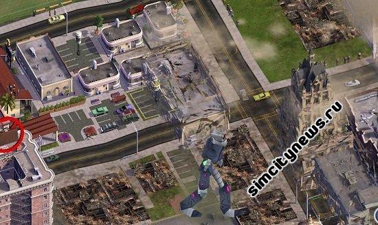 Нападение робота монстра на город в SimCity