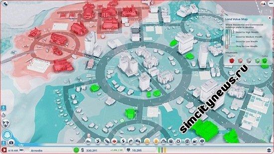 Инфографика SimCity контурные карты