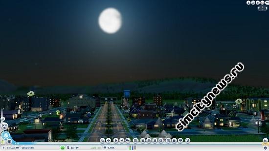 Луна освещает город