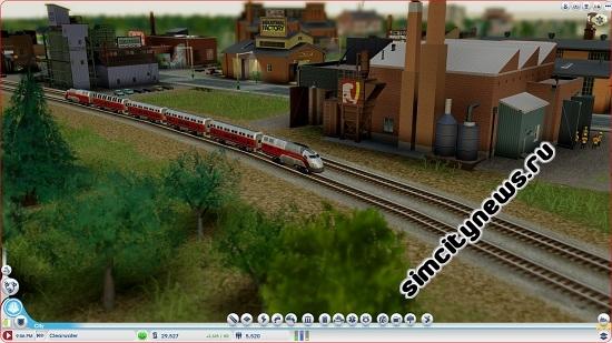 Поезд едет по городу в SimCity