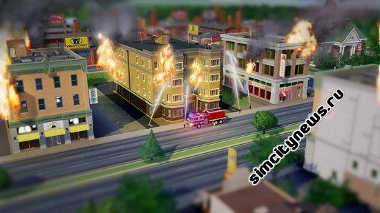 Пожарная служба тушит огонь в здании