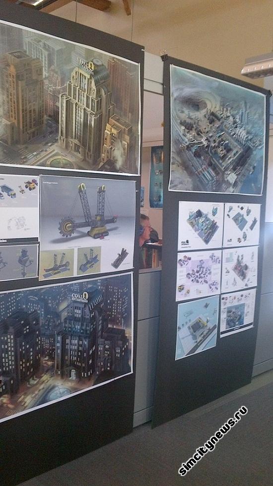 Плакаты SimCity в студии Maxis