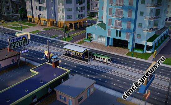 Трамвай на остановке