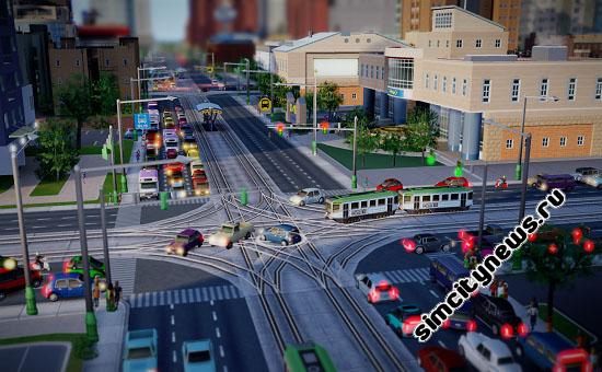 Трамвай на перекрестке